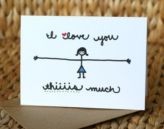 I Love You Thiiiis Much Girl Love Card di SARNSTIE su Etsy