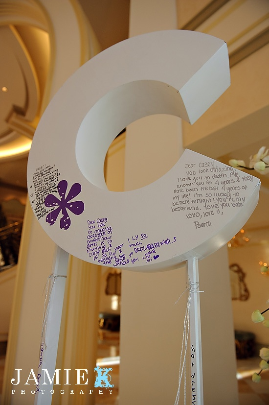 C shaped sign in board for Casey's Bat Mitzvah at The Grove in Cedar Grove, New Jersey.