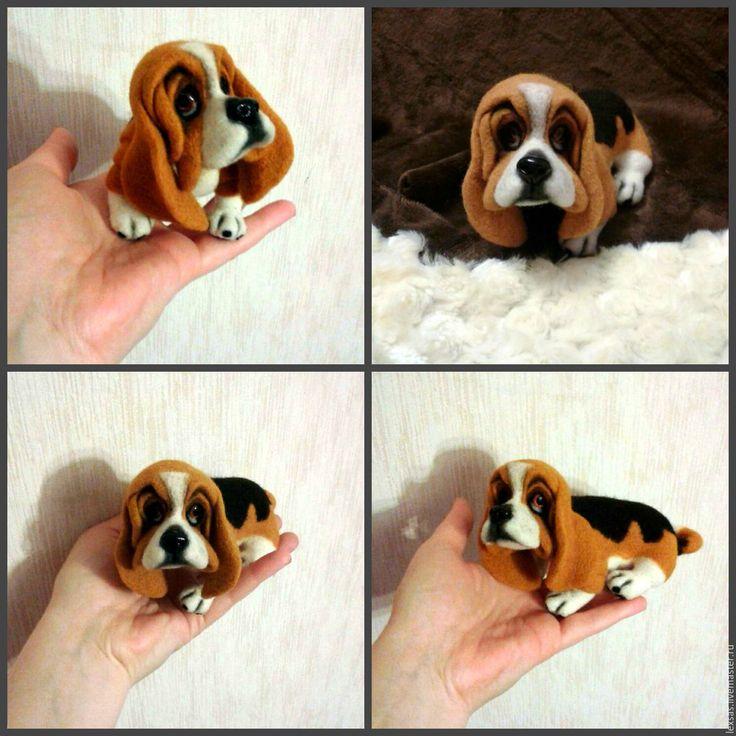 Купить Валяная игрушка. Собака породы Бассет хаунд - валяная собака, валяная собачка