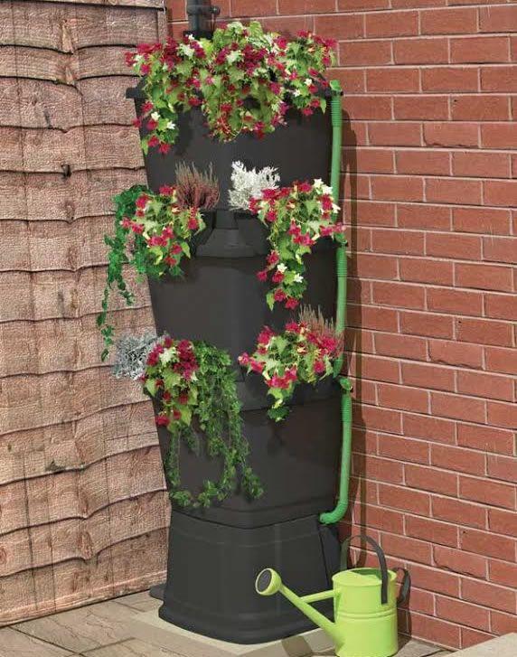 200l Rainwater Terrace Water Butt Planter 3 Tier :: Water Butts Direct