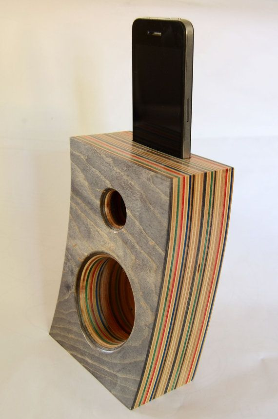 Double Speaker/Amplifier for Iphone made from Reclaimed Skateboards