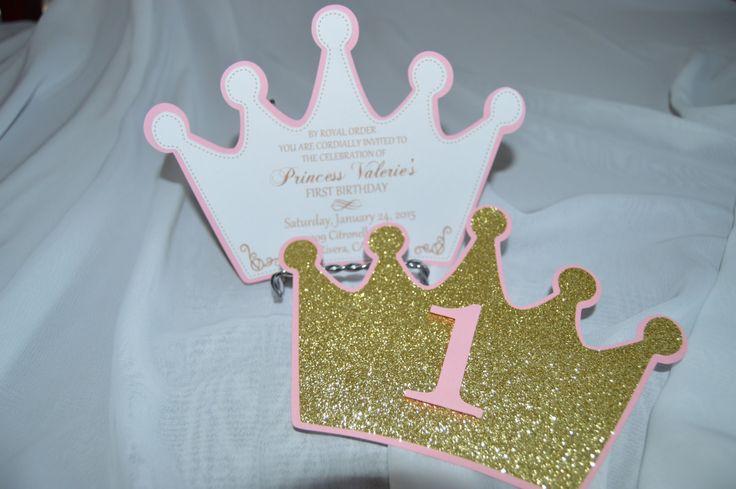 Set of 12 Princess Crown Invitations by CraftySistersPlus1 on Etsy