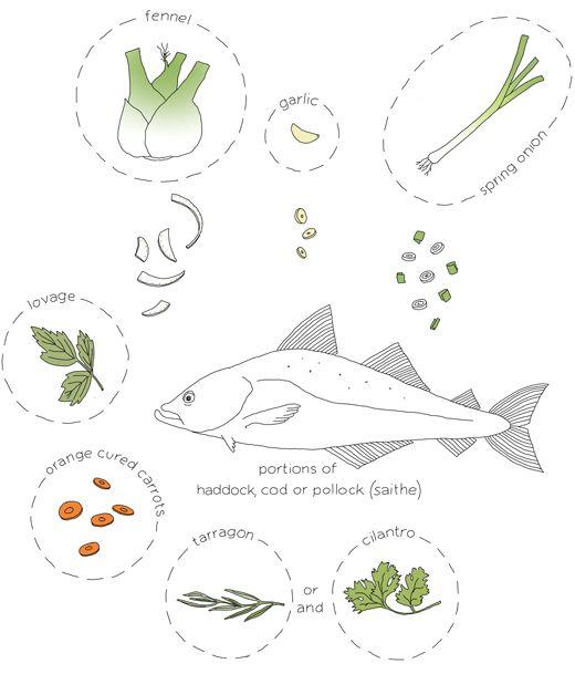 fish soup diagram, #drawing by Johanna Kindvall - #illustratedrecipe
