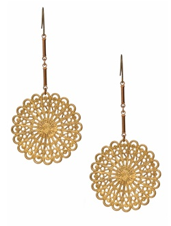 Bongo antiqued brass earrings are a light and lacy addition to your earring rotation