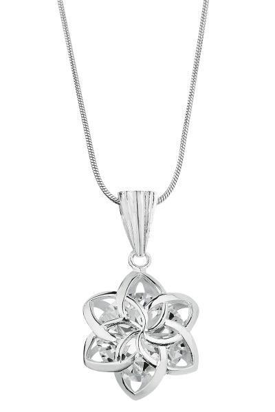 Ciondolo in argento Sterling 925 con catenina in argento di 42 cm. All'interno del fiore è incastonato uno zircone. Dimensioni: 1,9 x 2,5 cm circa. Verrà consegnato in un cofanetto regalo.