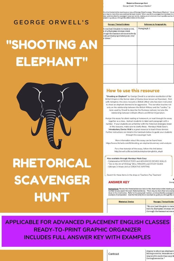 Rhetorical Devices Scavenger Hunt George Orwell Distance Learning
