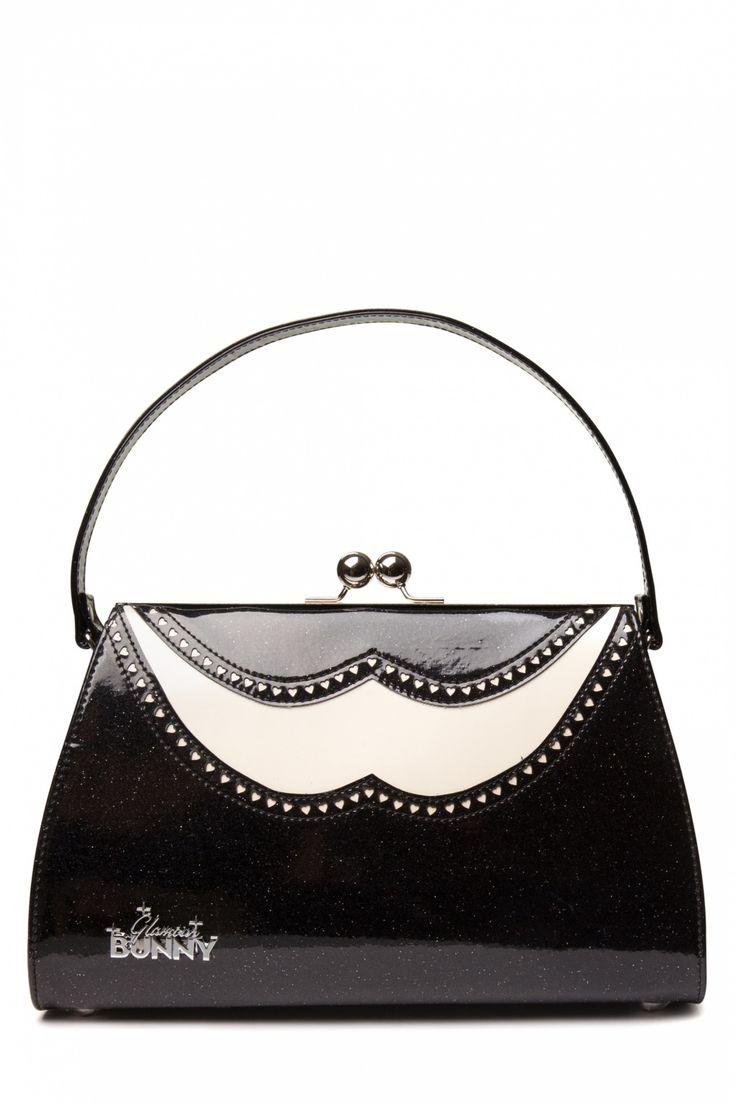 Glamour Bunny - 50s Classic Brogue Handbag Creme Black Glitter patent