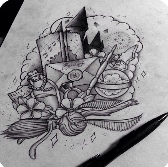 Harry Potter Tattoo Design (Unknown Artist) <3