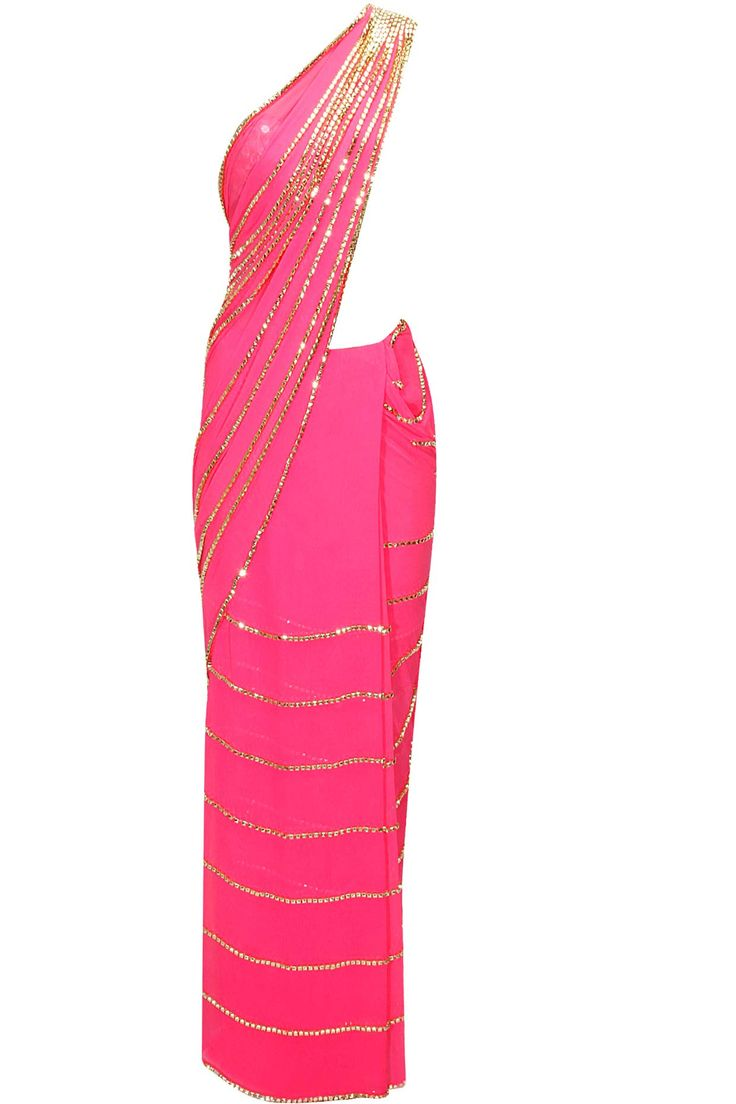 Hot pink beaded lines sari with pink mirror work blouse available only at Pernia's Pop-Up Shop.