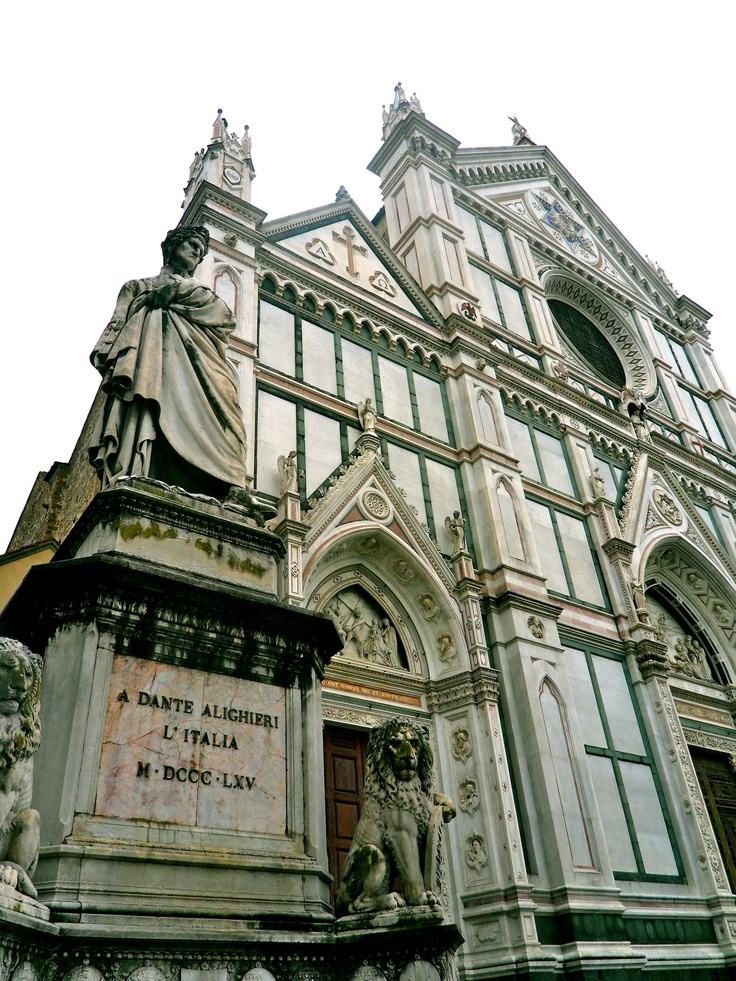 Santa Croce Church in Florence, Italy with grave of Dante Alighieri and many other famous individuals inside