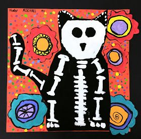Paintbrush Rocket 3rd Grade Day Of The Dead Skelo Cats Fall Art ProjectsHalloween