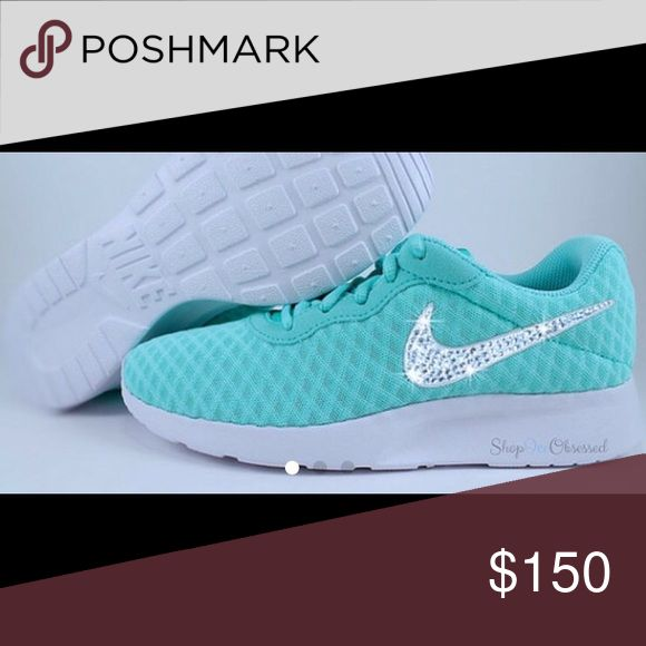 Swarovski Nikes Tiffany Blue Tanjun for Women 10 Swarovski Nikes Powder/Tiffany Blue Tanjun for Women, Custom Nike Shoes with Swarovski Crystals, Bling Nike Shoes in a dazzling color, Glitter Kicks Nike Shoes Athletic Shoes