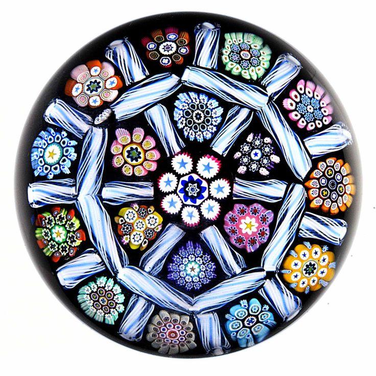 Peter McDougall Small Blue/White Modified Barber Pole Checker | Pottery & Glass, Glass, Art Glass | eBay!