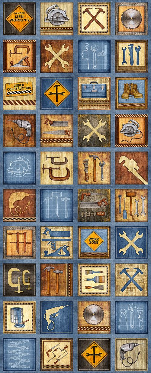 "Craftsman - Tools of the Trade - Blue - 24"" x 44"" PANEL-Quilt Fabrics from www.eQuilter.com"