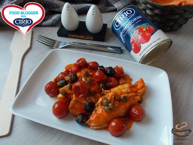 Filetti di platessa con pomodorini capperi e olive | Cirio di http://blog.giallozafferano.it/ricettedelcuoreblog/  #foodblogger #pomodoro #ricetta #recipes #tomato #recipe #italianrecipe