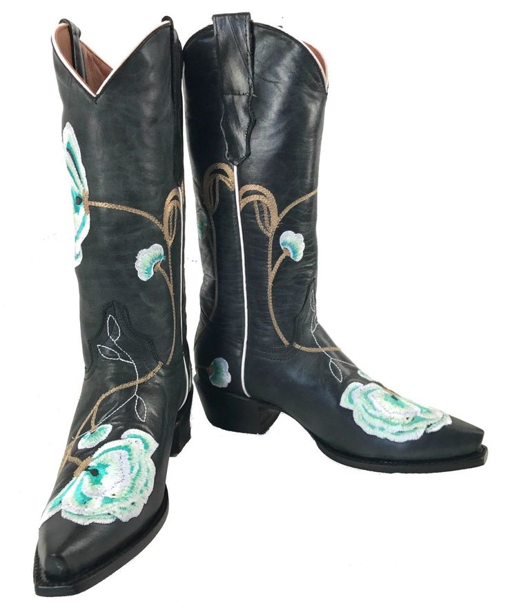 Women's Embroidered Leather Cowgirl Western Biker Rodeo Boots Black Sale