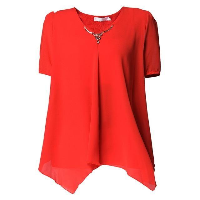 Women'S Orange Thin Chiffon Blouse