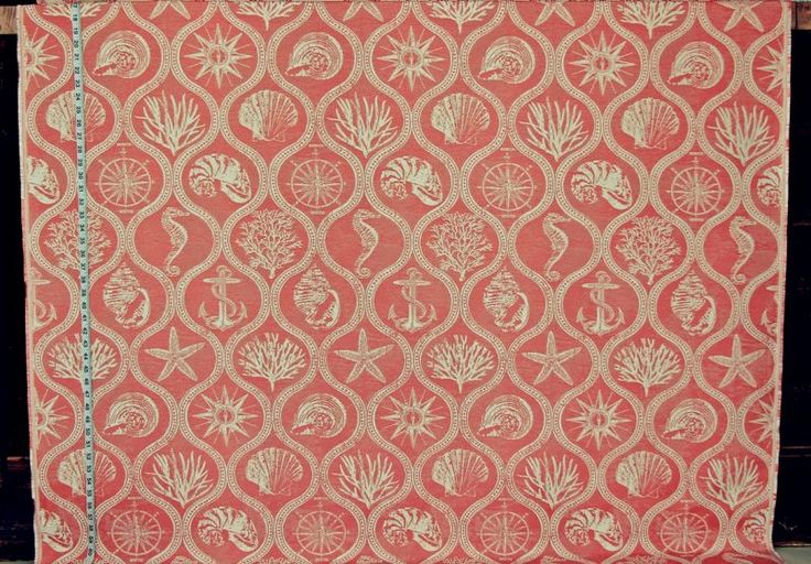 Orange ocean fabric nautical coral seashel seahorsel outdoor upholstery from Brick House Fabric: Novelty Fabric