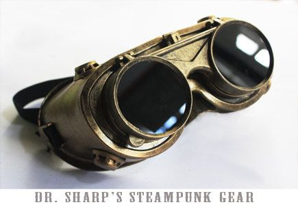 Gold Metallic Finish Steampunk Goggles by by DrSharpSteampunkGear, $13.99