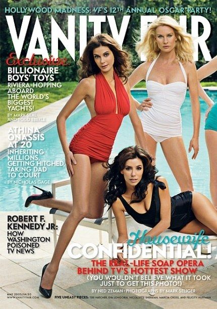 MAY 2005 From left: *Desperate Housewives'*s Teri Hatcher, Eva Longoria, and Nicollette Sheridan. Photograph by Mark Seliger.