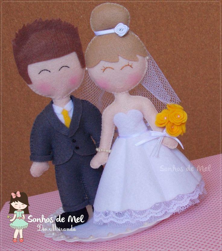 Bride and Groom in felt - Sonhos de Mel 'ੴ - Crafts em feltro e tecido