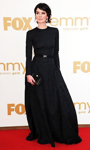 Lena Headey at the 2011 Emmys - I adore the hair, the makeup, the accessories, and the dress