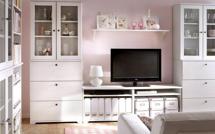 Combinación de almacenaje para TV BORGSJÖ blanca con cajones y puertas de vidrio