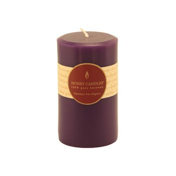 Burn Time: 55-65 Hours  Handmade with 100% pure Canadian beeswax and lightly colored with toxin-free violet dye, you'll love the long-lasting, warm glow and scent of Honey Candles® Violet 5x3 Round Pillar.
