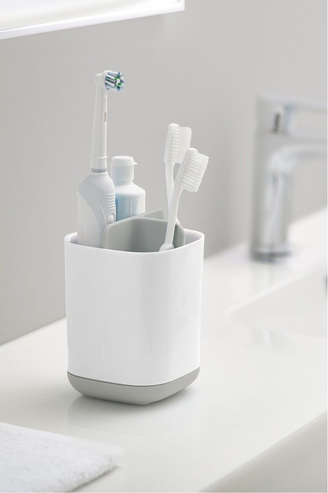 Joseph Joseph Easystore White And Grey Toothbrush Tidy Grey In 2020 Brushing Teeth Toothbrush And Toothpaste Holder Toothbrush Holder