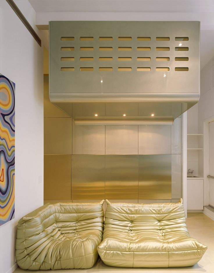 Minimalist White Residence Interior Design : Glossy Gold Sofa With Glossy  Silver Background