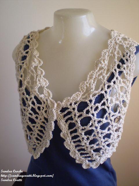 Este bolero de croche fiz segundo a explicação da Vitória Quintal - http://www.vitoriaquintal.com.br/  -  na Tv Seculo 21 -( http://www.tvse...