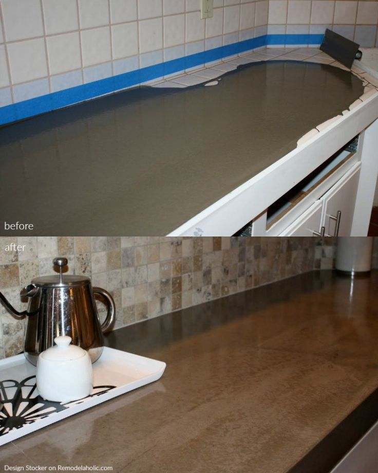 Before and after poured quick install concrete countertops