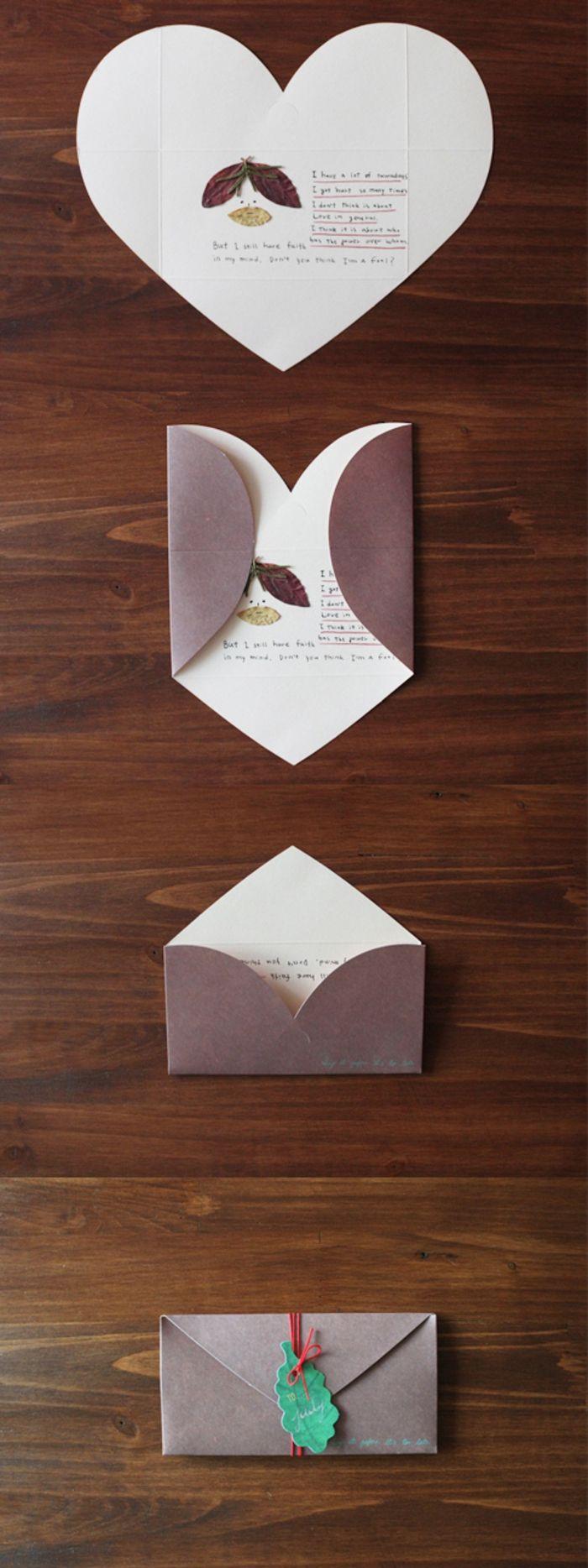 tarjetas de cumpleaños, sobre desplegable que se convierte en tarjeta de cumpleaños en forma de corazón
