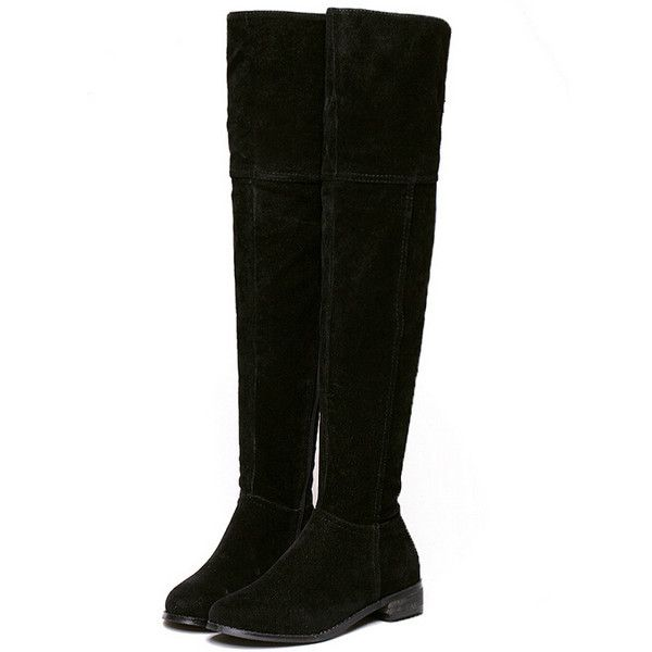 Black Round Toe Zipper Side Over The Knee Boots (170 RON) ❤ liked on Polyvore featuring shoes, boots, black, black boots, flat thigh high boots, black knee-high boots, thigh boots and flat boots