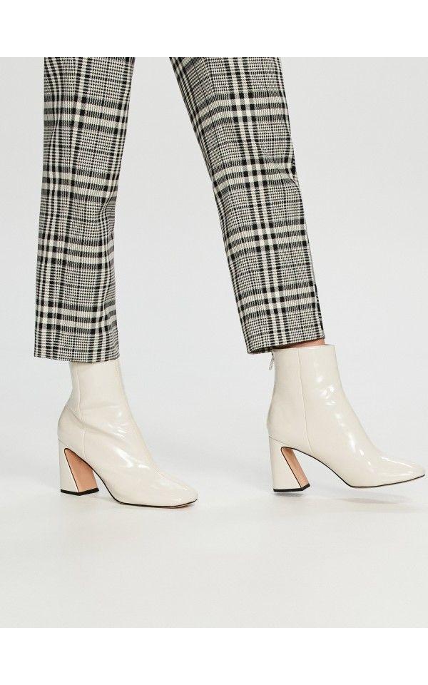 Botki Na Ozdobnym Obcasie Buty Bialy Reserved Fashion Ankle Boots Shoes