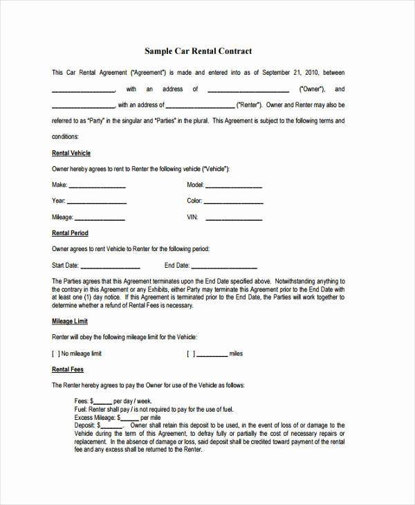 Car Deposit Agreement Fresh Sample Contract Forms Agreement Contract Template Receipt Template