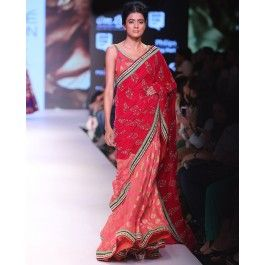 #ExclusivelyEOSS.Coral and Red Lengha Saree with Golden Embellishments