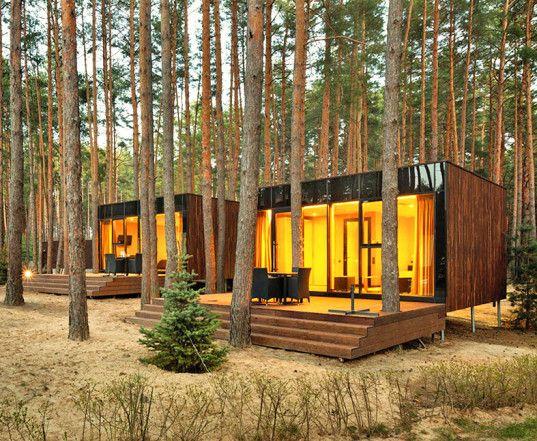 green design, eco design, sustainable design, Relax Park Verholy, Poltova Ukraine, YOD Design Lab, stilted house, prefabricated cabin, mirrored glass