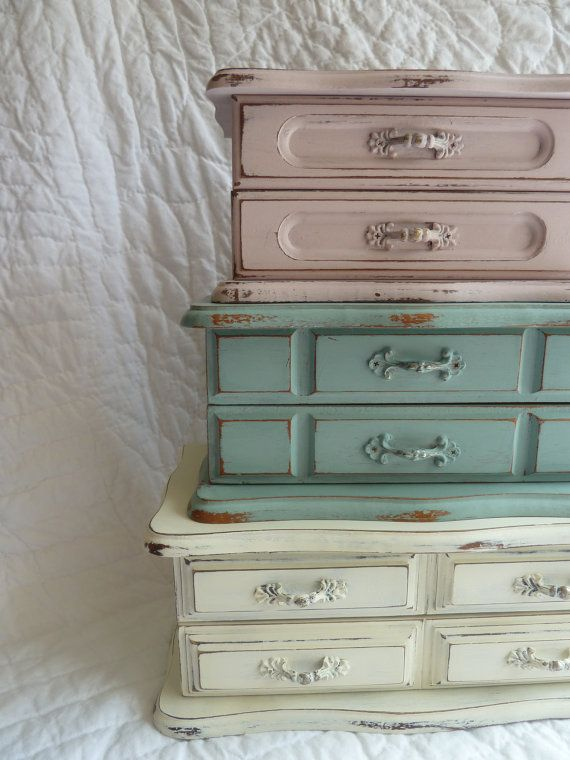 UPCYCLED vintage painted wood jewelry box in duck by TheSparklyPig