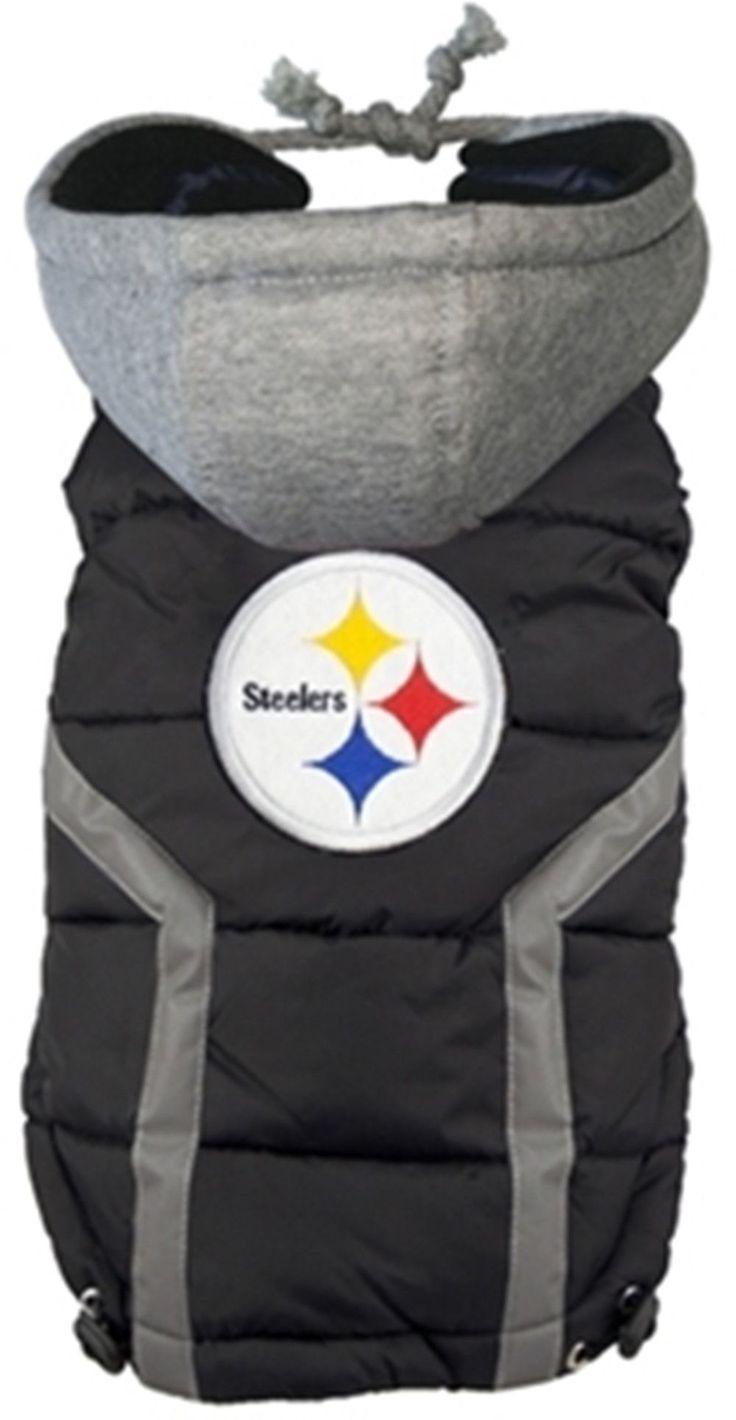 Pittsburgh STEELERS NFL dog Jacket (Puffer Vest) in color Black