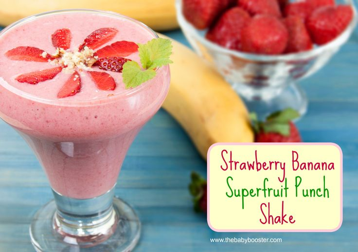 pregnancy, fitness, healthy, protein shake, recipe, mom to be, maternity, fitmom, prenatal, pregnant, strawberry banana, superfruit punch, baby booster