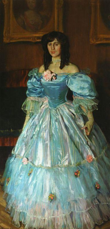 Борис Михайлович Кустодиев. Портрет женщины в голубом
