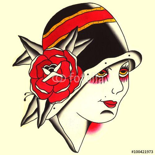 Donna con cappellino e rosa anni 50 Illustrazione Tatuaggio in stile old school