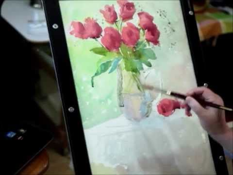 Watercolor lesson how to paint rose and glass by Mingming Bowerson (Part 1)