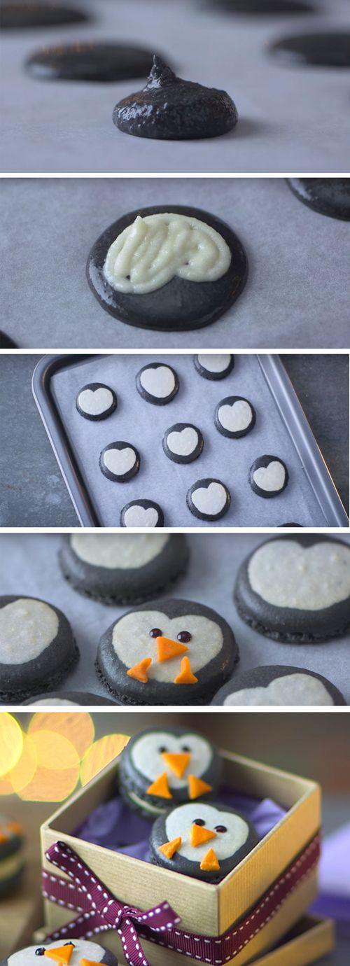 Penguin macarons! Like normal macarons, but way cuter. And great for Christmas gifting