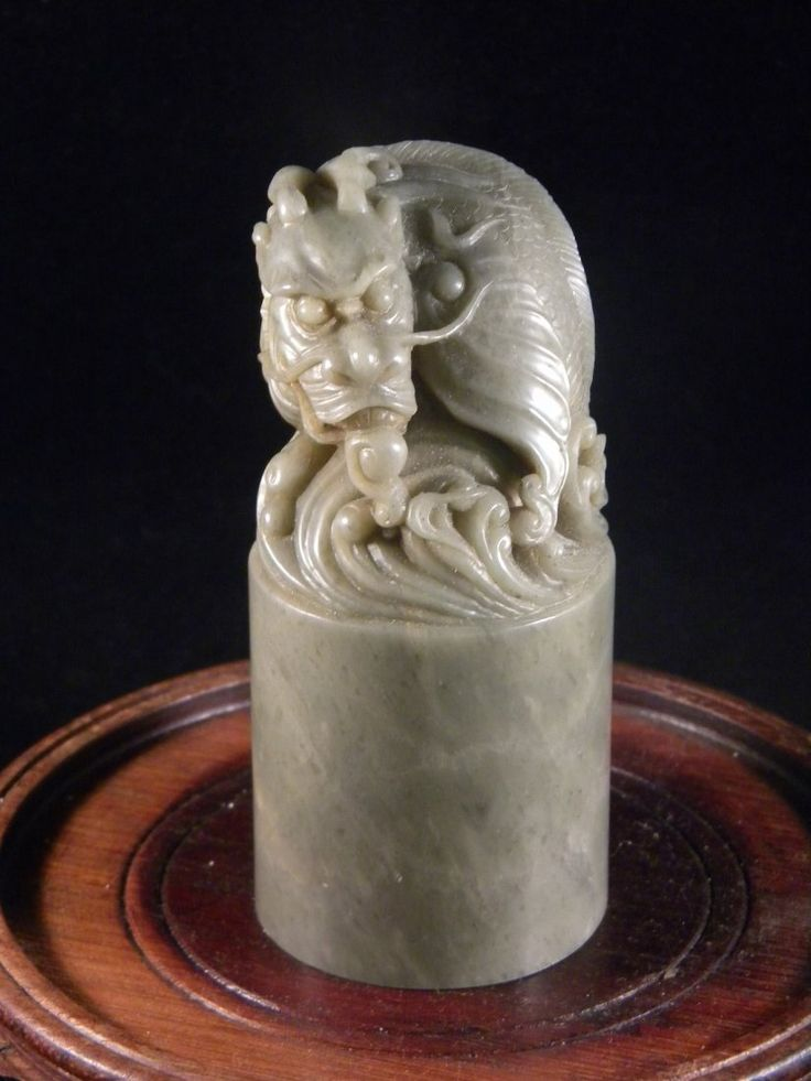 ANTIQUE CHINESE DRAGON CHOP SEAL, GREY COLOR STONE