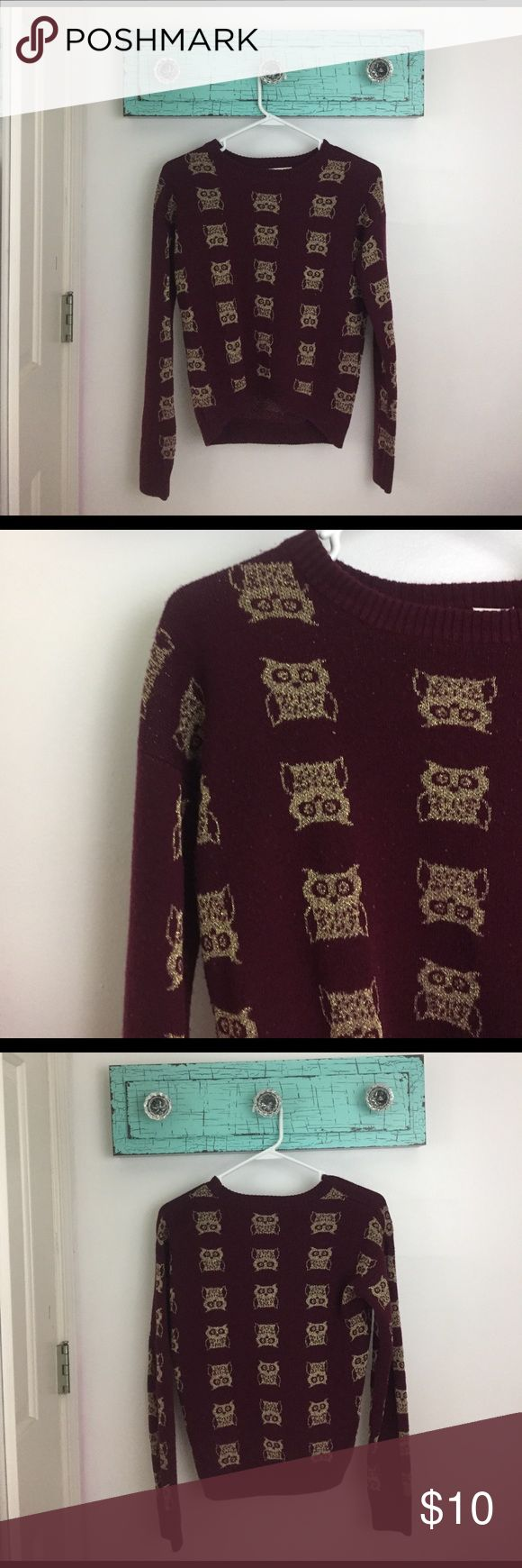 owl sweater Burgundy sweater with gold owls Sweaters Crew & Scoop Necks