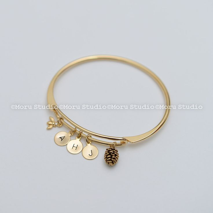 Pinecone Bee Charm Bangle with Initial Disc- Silver,Gold, Rose Gold. Pine Cone Bracelet, Bee Bracelet, Initial Bracelet, Personalized BCR080 by MoruStudio on Etsy