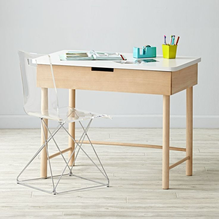 Our Foundation Desk lays the groundwork for creating the perfect workspace for kids. Featuring a unique two-tone natural and white finish, this gender-neutral desk easily matches with any furniture you may have. It even has a roomy drawer.Shop our collection of exclusive desk chairs.