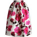 Chicwish Glam Rose Print A-line Midi Skirt
